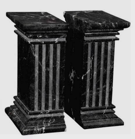 Khan Imports Decorative Black Marble Bookends, Heavy Stone Column Bookends for Office - Extra Large (Column Marble Bookends)