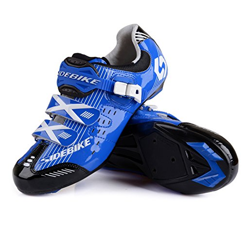 Smartodoors Women's Men's MTB Road Bike Cycling Shoes SD-001 (Blue Road, US10/EU43/Ft27cm)