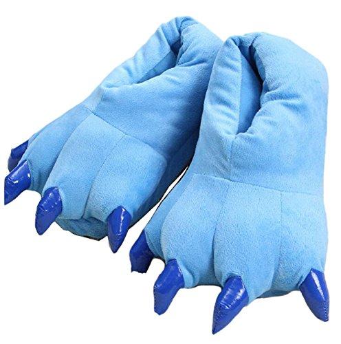de D'hiver familier extérieure avec Dessinée et Patte Supérieure de Blue Chaudes la D'animal Bande Pantoufles Semelle antidérapante A5UIxU