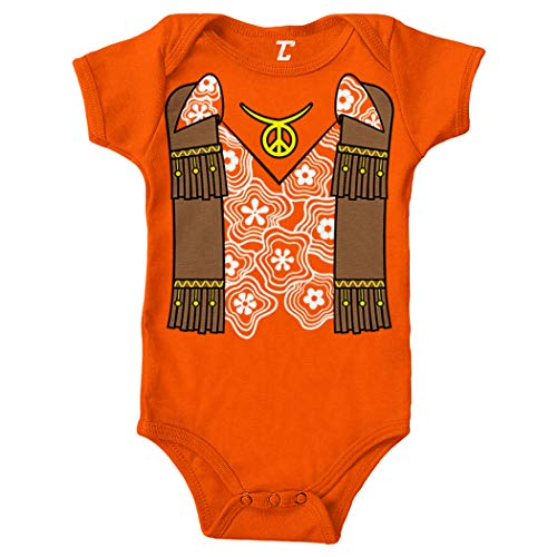 Hippy Costume - Groovy Righteous Cool Bodysuit (Orange, 12 -