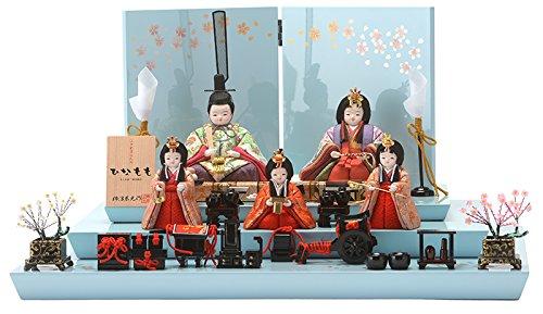 雛人形 コンパクト ひな人形 木目込み ふっくら 三段飾り 五人飾り 柿沼東光作 ひなもも 入れ目 h283-mi-kt-ns254   B019DK7J8I