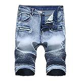 iZHH Men's Zipper Crumple Fit Straight Denim Vintage Style Jeans Pants(Hellblau,38)