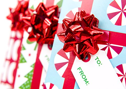 Hallmark Christmas Gift Card Holders with Bows and Gift Tags (Pack of 3: Trees, Peppermints, Happy Holidays), Red Bow…