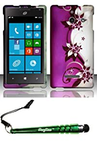 FoxyCase(TM) FREE stylus AND Huawei W1 H883G (StraighTalk) Rubberized Design Case Cover Protector - Purple Silver Vines Desire Safe Phone cas couverture