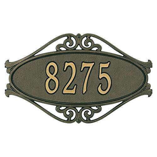 Whitehall Products Hackley Fretwork Oval Bronze/Gold Standard Wall One Line Address (Fretwork Wall Plaque)
