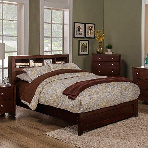 Alpine Furniture Solana California King Platform Bed Bookcase HEADBOARD (California Bookcase King)