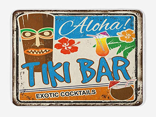 (Virsa Tiki Bar Bath Mat, Rusty Vintage Sign Aloha Exotic Cocktails and Coconut Drink Antique Nostalgic, Plush Bathroom Decor Mat with Non Slip Backing, 16x24 Inches, Multicolor)