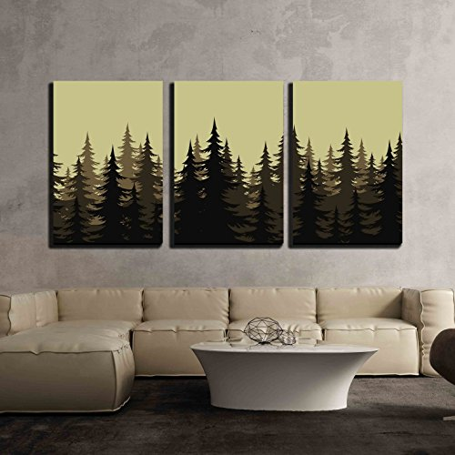 wall26 - 3 Piece Canvas Wall Art - Seamless Background, Landscape, Night Forest with Fir Trees Silhouettes. Vector - Modern Home Decor Stretched and Framed Ready to Hang - 24