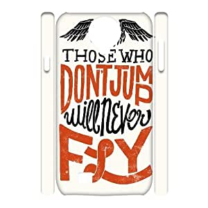 3D Yearinspace Typography Samsung Galaxy S4 Cases Typography Those Who Don't Jump Will Never Fly Cheap For Girls, Cell Phone Case For Samsung Galaxy S4, [White]