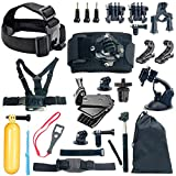 YaeCCC 18-in-1 Gopro Accessory Kit for GoPro Hero5 Black, Hero5 Session, Hero 4 Silver Black, Hero Session, Hero3+,3,2,1 SJ4000,5000,6000,XIAOMIYI,2,Sports Camera Accessories,Gopro Bundle