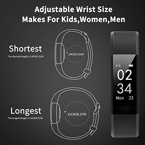 Fitness Tracker Activity Tracker Aneken Smart Band Heart Rate Sleep Monitor Waterproof Smart Bracelet Bluetooth Pedometer Wristband Smart Watches for Android and iOS Smart Phones by ANEKEN (Image #7)