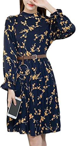 Jaycargogo Élégante Des Femmes De Robes Swing Manches Longues Fleurs En Mousseline De Soie Col Ras Du Cou 1
