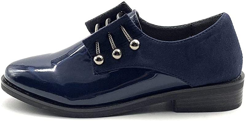 Femmes Bottines cuir verni à lacets Spike Noeud Fashion Chaussures Oxford BB