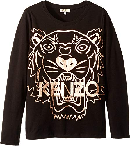 850b8f50 Kenzo Kids Girl's Copper Tiger T-Shirt (Big Kids) Black 12