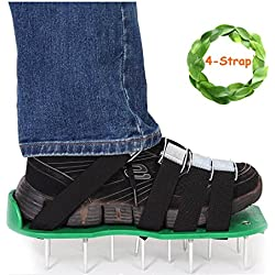 Lawn Aerator Spike Shoes Updated 4 Straps with Heavy Duty Buckles Lawn Aerator Sandals by Kyerivs, Universal Size with Bonus Wrench