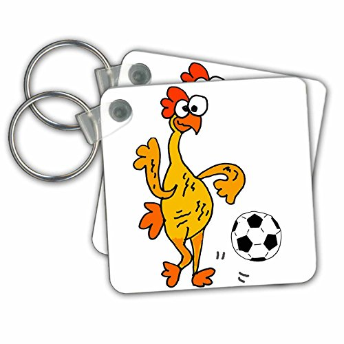 All Smiles Art Sports and Hobbies - Hilarious Cool Rubber Chicken Playing Soccer Cartoon - Key Chains - set of 2 Key Chains (kc_270129_1)