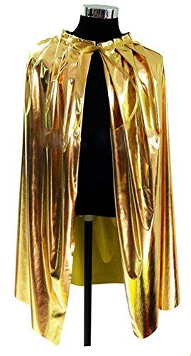 Unisex-child Halloween Costumes Wizard Cloak Witches Robe Cosplay Glitter Golden (Medium)