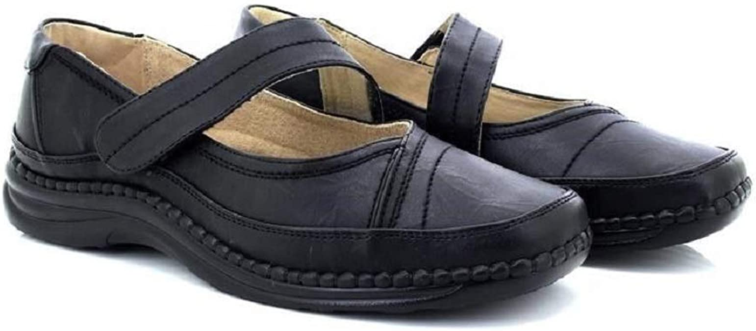 EEE Black Boulevard REX Womens Twin Touch Close Extra Wide Leather Shoes