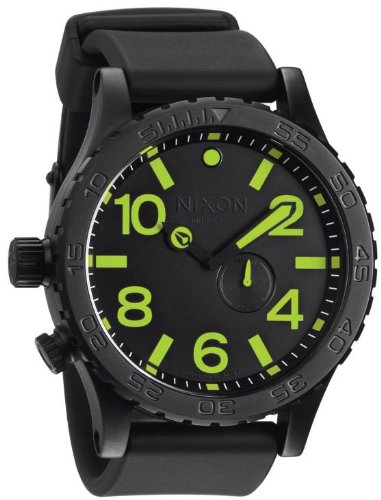Men's Nixon The 51-30 PU Watch in All Black/Lum
