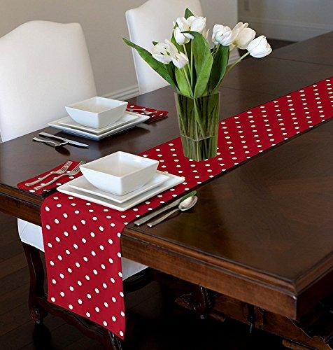 Red & White Modern Contemporary Polka Dot Table Runner Mat Topper (12 x 90)