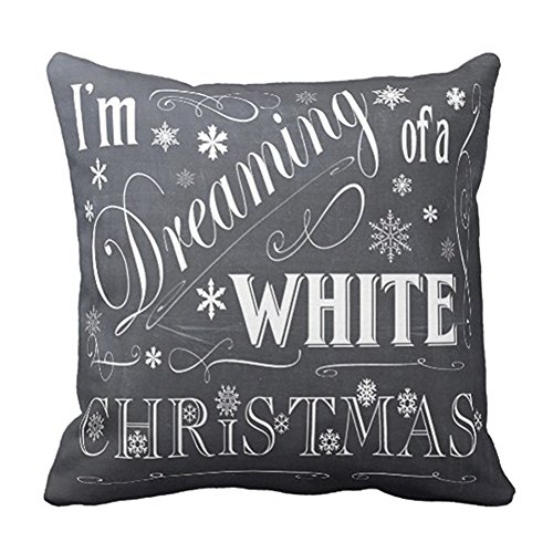 Ashasds Holiday Chalkboard Art White Christmas Decorative Throw Pillow Covers with Zips Accent Pillows Case for Girls Family Children Size: 20x20 Inches Two Sides