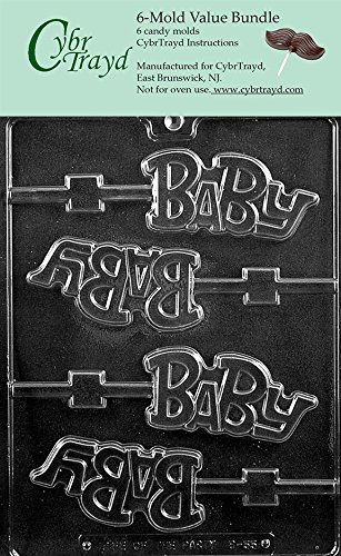 CybrTrayd B055-6BUNDLE Baby Lolly Chocolate Candy Mold with Exclusive Copyrighted Chocolate Molding Instructions