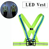 night gear - LED Reflective Vest Adjustable Rechargeable High Visibility Safety Vest Gear for Night Running, Dog Walking, Jogging, Cycling, Motorcycling - Blue