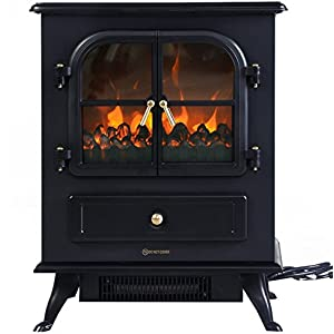 1500W Electric Free Standing Fireplace Heater with 2 Doors - By Choice Products