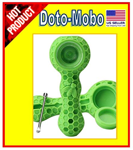 Doto-Mobo Unbreakable Honeycomb Shape Silicone Straw Pipe Cleaner with Lid and Free Decor Bowl Inside - Smoking Hot Deal! (Green) -
