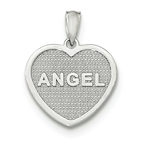 Or blanc 14 carats Ange Ailes poli réversible Coeur Pendentif