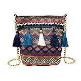 body Bags for Women,iOPQO Vine Knitting Tassel Beach Shoulder Bag