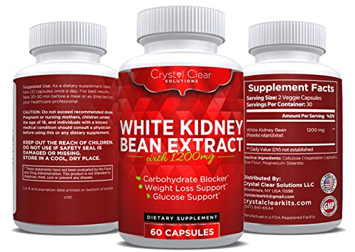 Pure White Kidney Bean Extract- Best for Weight Loss, Carb Blocker and Reduces Fat From Forming (60 Caps) (60)