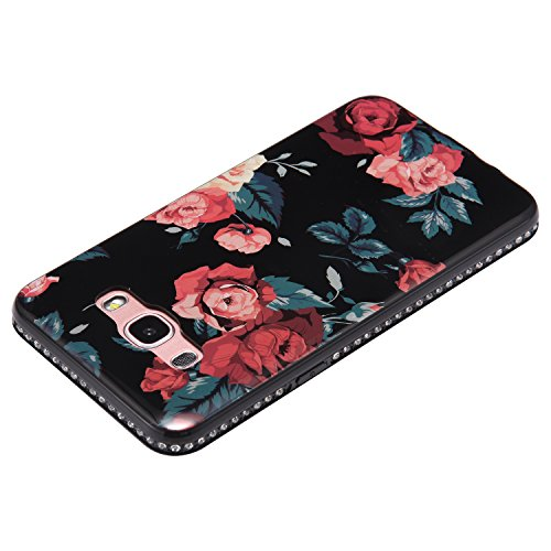 Funda Case Samsung Galaxy J5 2016 silicona,Ukayfe Ultra Delgado Flexible Suave TPU Gel Trasera Bumper Protector Carcasa Para Samsung Galaxy J5 2016,Carcasa de 360 Protección con Pintura de Colores par Rosas