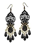 Mints Tassel Earrings Teardrop Gothic Jewelry for Women Black Lace Rhinestone Drop Dangle Earrings Chandelier Vintage