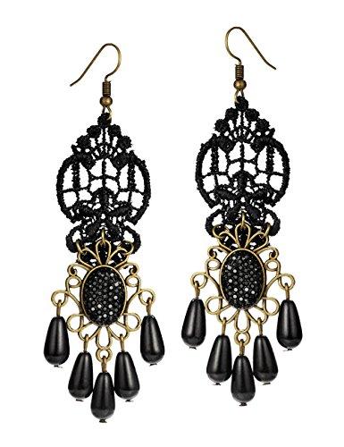 Mints Tassel Earrings Teardrop Gothic Jewelry for Women Black Lace Rhinestone Drop Dangle Earrings Chandelier Vintage ()