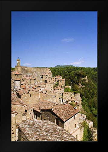 Italy, Sorano Medieval Hill Town on a Cliffside Framed Art Print by Flaherty, Dennis (Cliffside Framed)