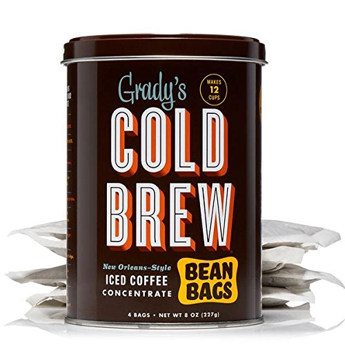 Gradys Cold Brew Coffee, 1 Storage Can with 4 Bean Bags, Regular