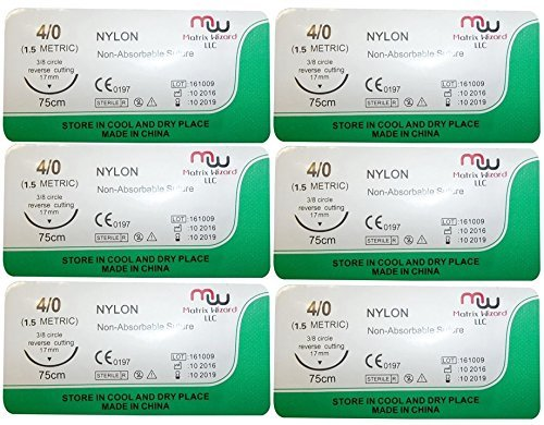 Surgical Suture Needles (Suture Thread with Needle (Training sutures - pack of 6) by Matrix)