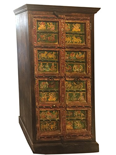 Antique Armoire Cabinet Chest Ganesha Hand Painted Ancient Indian Art Design Decor by Mogul Interior