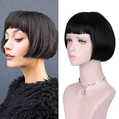 DIFEI Retro Wig Super Short Bob Wigs Black Straight Wigs with Above Eyebrows Bangs for Women (Black) (Black)]()