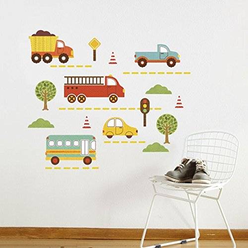Petit Collage Fabric Wall Decal - By Land Car & Truck Decals