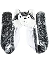 Husky Timber Wolf Plush Animal Winter Hat Aviator Style Warm by Super Z Outlet®