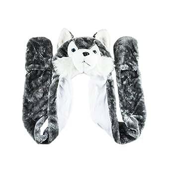 Amazon.com: Husky Timber Wolf Cute Plush Animal Winter Hat
