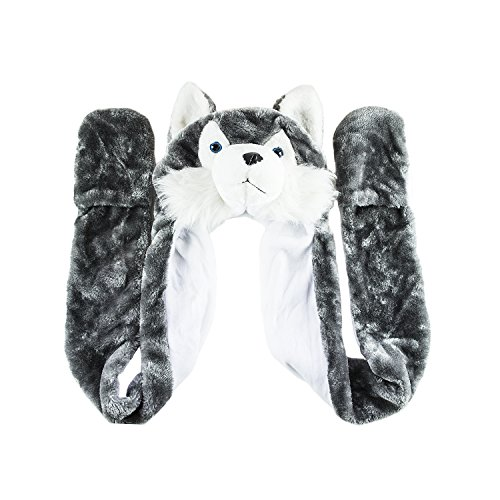 Cute Wolf Costumes (Husky Timber Wolf Cute Plush Animal Winter Hat Warm Winter Fashion (Long))