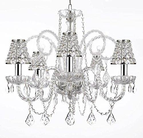 Empress Crystal tm Chandelier Chandeliers Lighting with Chrome Sleeves and Crystal Shades H25 X W24