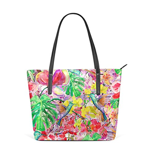 Purses Leather Shoulder Fashion PU Women's Bags Top Totes Handbag Hummingbirds Handle TIZORAX Tropical Watercolor Floral PqAqY6