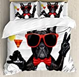 Ambesonne Funny Duvet Cover Set Queen Size, French Bulldog Holding Martini Cocktail Ready for the Party Nightlife Joy Print, Decorative 3 Piece Bedding Set with 2 Pillow Shams, Black Red White