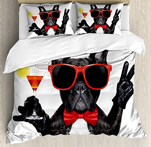 Ambesonne Funny Duvet Cover Set Queen Size, French Bulldog Holding Martini Cocktail Ready for the Party Nightlife Joy Print, Decorative 3 Piece Bedding Set with 2 Pillow Shams, Black Red White (Martini Bed Set)