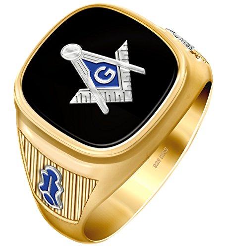US Jewels And Gems Customizable Men's Two Tone Vermeil Solid Back Blue Lodge Freemason Masonic Ring, Size 10.5