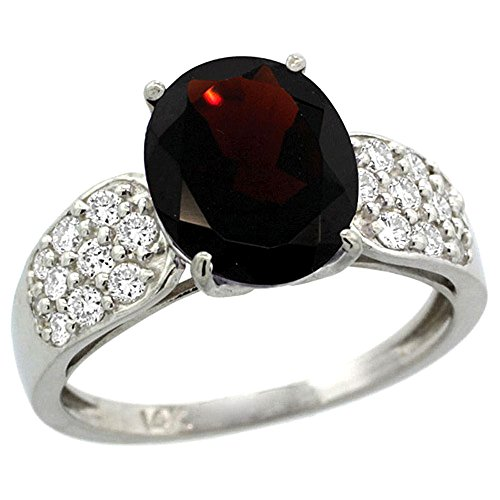 14k White Gold Garnet Engagement Ring 2.30 Carats Oval Cut Stone 0.35 cttw Diamonds, 3/8inch. , size 8.5